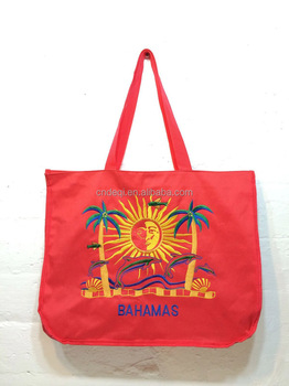 Bahamas Polyester Beach Bag Tote Embroidered Sun And Dolphins - Buy ... 640eef3d03592