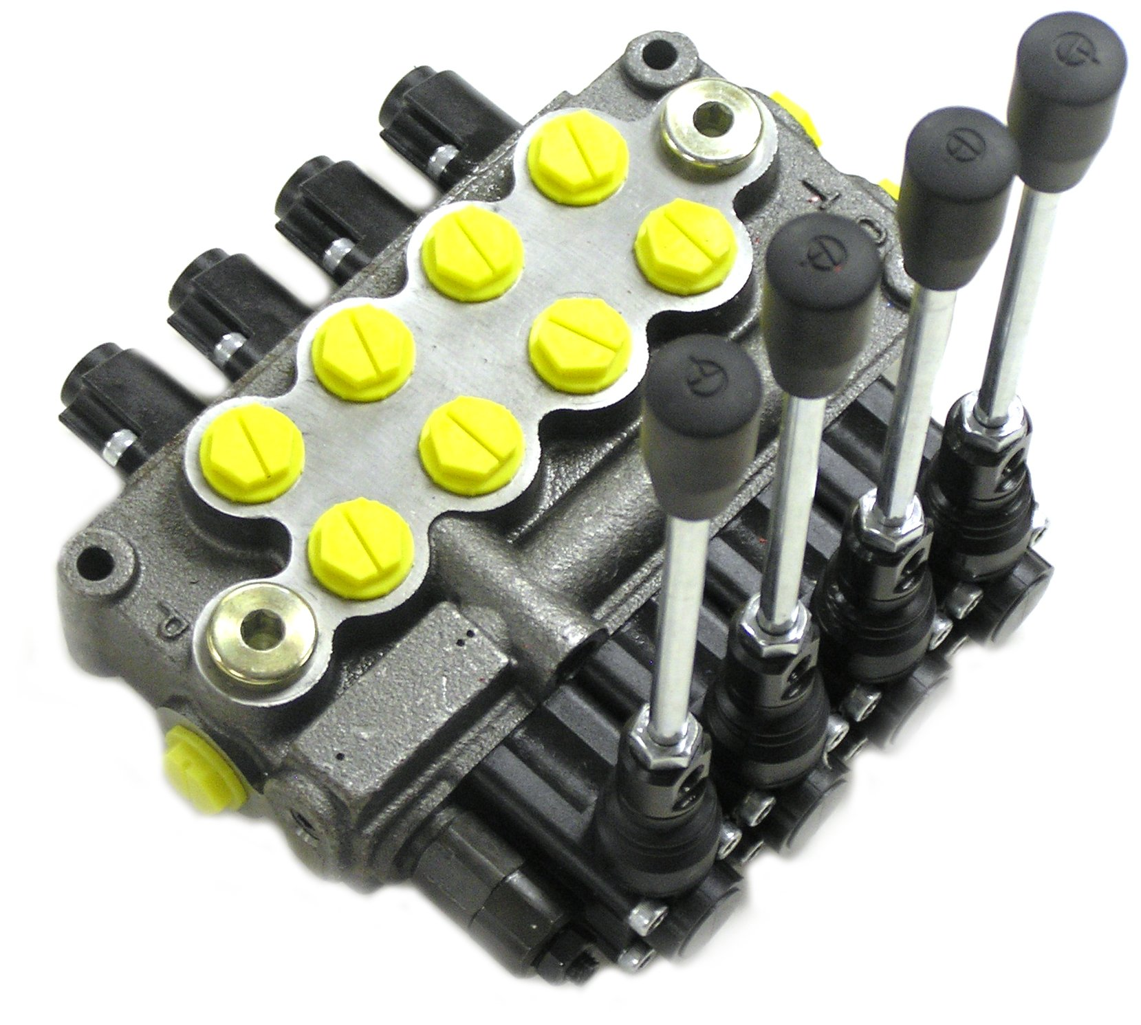Prince MB41BBBB5C1 Directional Control Valve, Monoblock, Cast Iron, 4 Spool, 4 Ways, 3 Positions, Single Acting Cylinder Spool, Spring Center, Straight Handle, 3500 psi, 8 gpm, In/Out: #8 SAE, Work #8 SAE