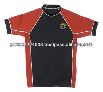 Rash Guards Made of Lycra Red and Black Rush Guard
