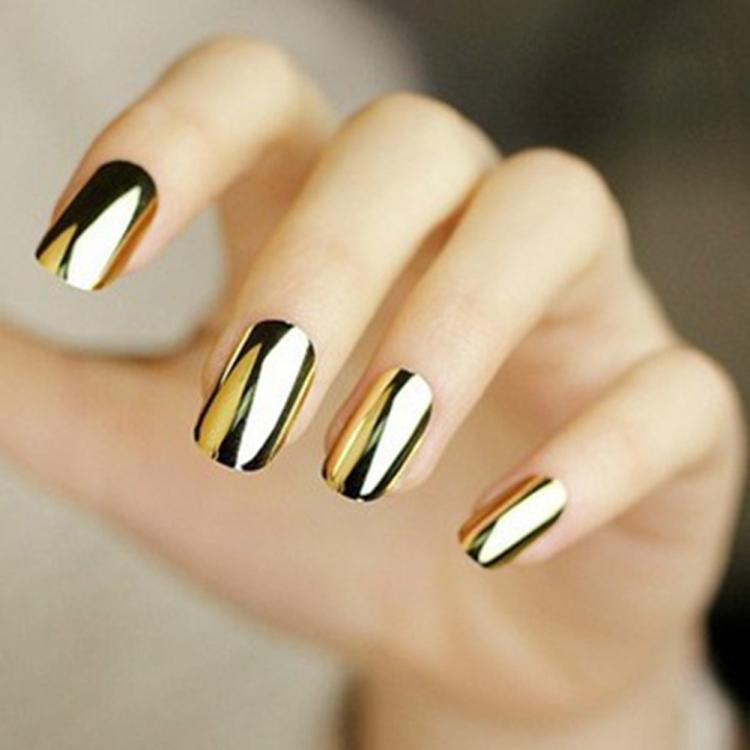 Lackingone 16pcs Smooth Foil Nail Art Beauty Sticker Patch Foils Wraps  Decoration Decal Black Silver Gold nail sticker - Unfair Weight