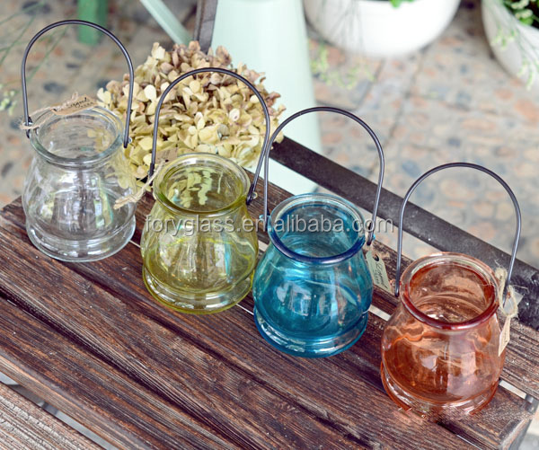 Glass candle holder hanging glass tealight votive candle holder