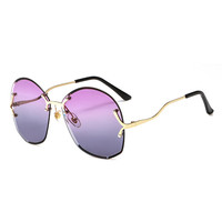 Luxury Rhinestone Cut Rimless Mirror Women Bulk Buy Sunglasses