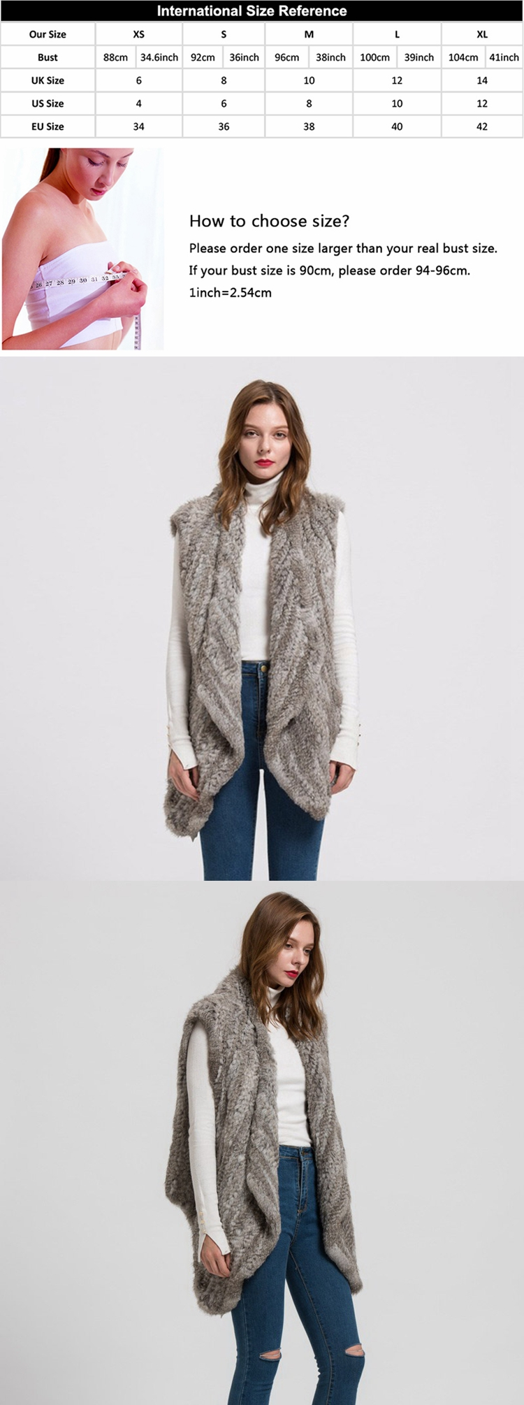 2019 Casual Thick Knitted Women's Real Rabbit Fur Vest / Ladies Winter Fashion Fur Waistcoat