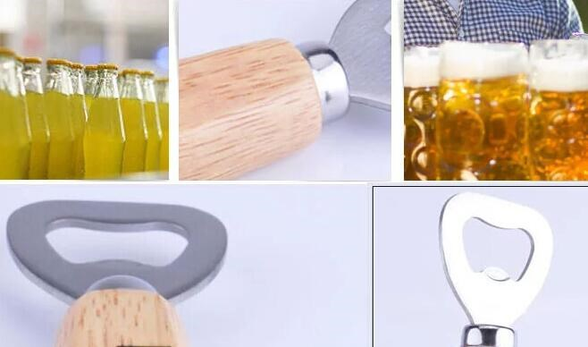 free shipping Stainless steel beer bottle opener with wooden handle