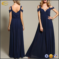 Ecoach Wholesale OEM Latest dress patterns navy off the shoulder dress 2016 new style full length party dress for young ladies
