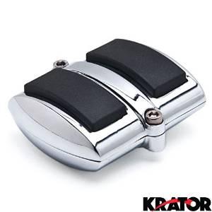 Krator Chrome Brake Pedal / Heel Shift Pad Cover Rubber For Yamaha V-Max 1985-2006 Brake Pedal