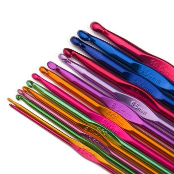14 Sizes Multi-Coloured Aluminum 2mm-10mm Handle Crochet Hooks Knitting Knit Needles Weave Yarn Set
