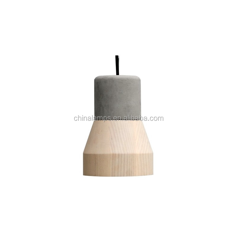 Fancy pendant light pendant lighting for high ceilings concrete lighting with wod shade for modern restaurant coffee shop supply