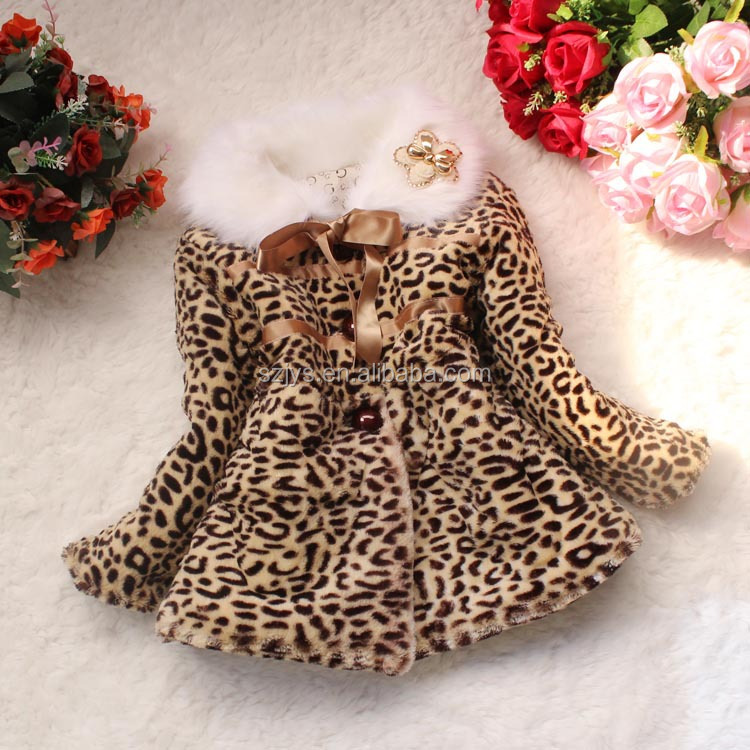 leopard children fur coat kids jackets and coats