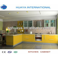 modern high glossy yellow color lacquered kitchen cabinet