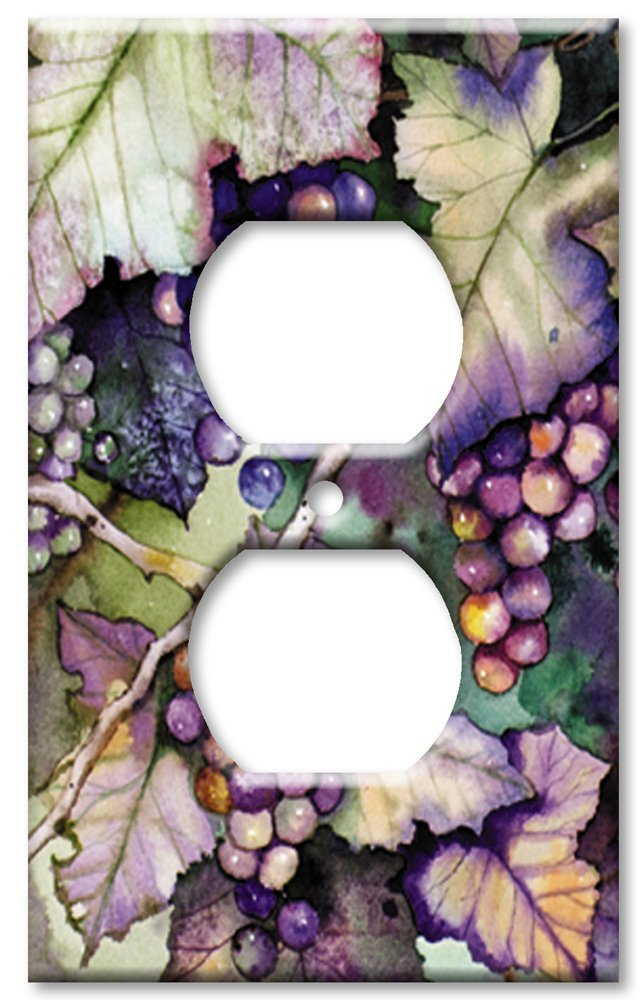 Art Plates - Outlet Cover OVERSIZE Switch Plate/OVER SIZE Wall Plate - Grapes and Leaves