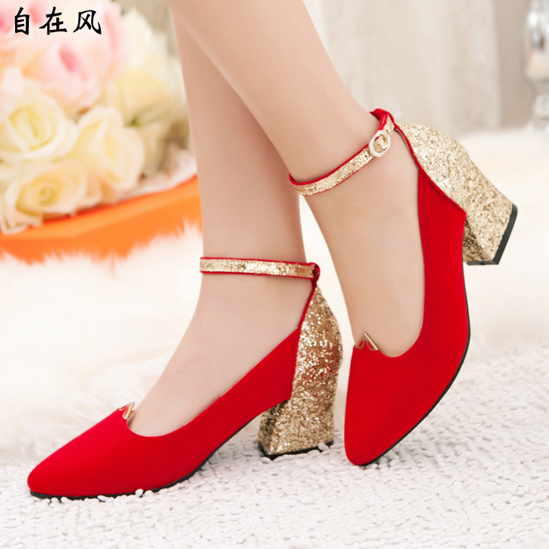 Summer Style 2015 Luxury Leather Wedding Shoes Gold Red
