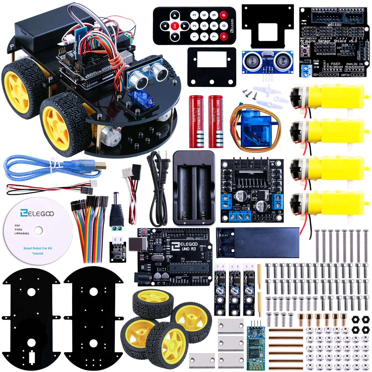 Elegoo for Arduino Project Smart Robot Car Kit with Four-wheel Drives, UNO R3, Link Tracking Module, Ultrasonic Sensor, Bluetooth module, Remote Intelligent and Educational Car for Teens and Adults