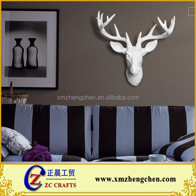 Wholesale artificial white resin deer head creative crafts for wall decoration
