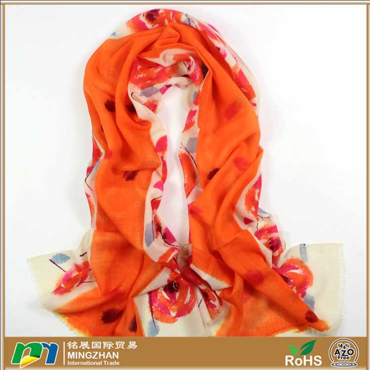 Soft warm 100% pure inner mongolian cashmere hand painted Chinese style trendy orange rose print scarves
