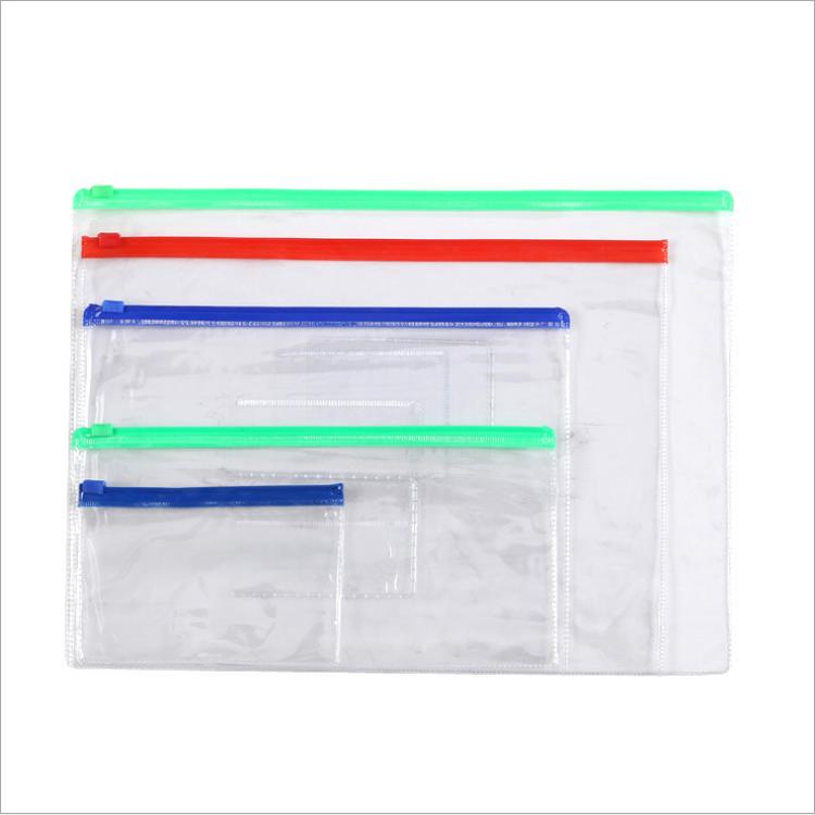 Plastic Zipper File Document Folders Bags Zip Lock PVC Document File Zipper Bags With Pockets