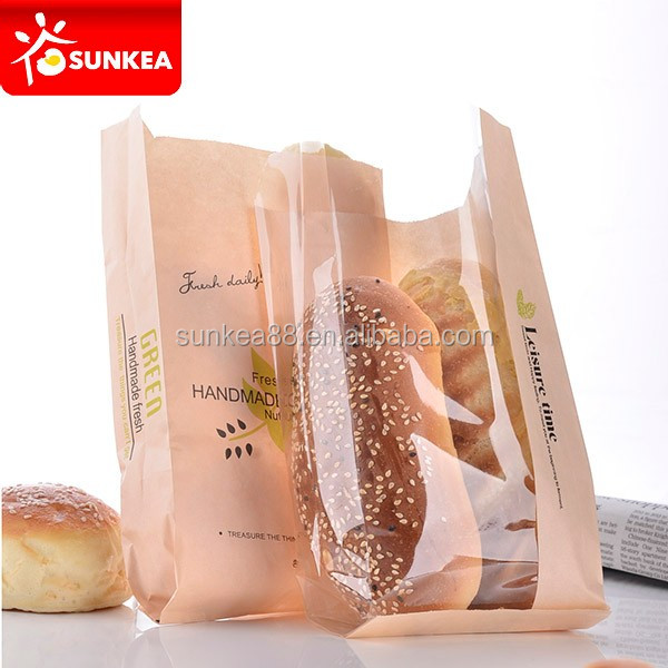 Food paper bread bakery packaging bags with window