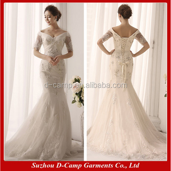 WD101 Off The Shoulder Short Sleeves Trumpet Wedding Dress For Pakistan In Cream Color