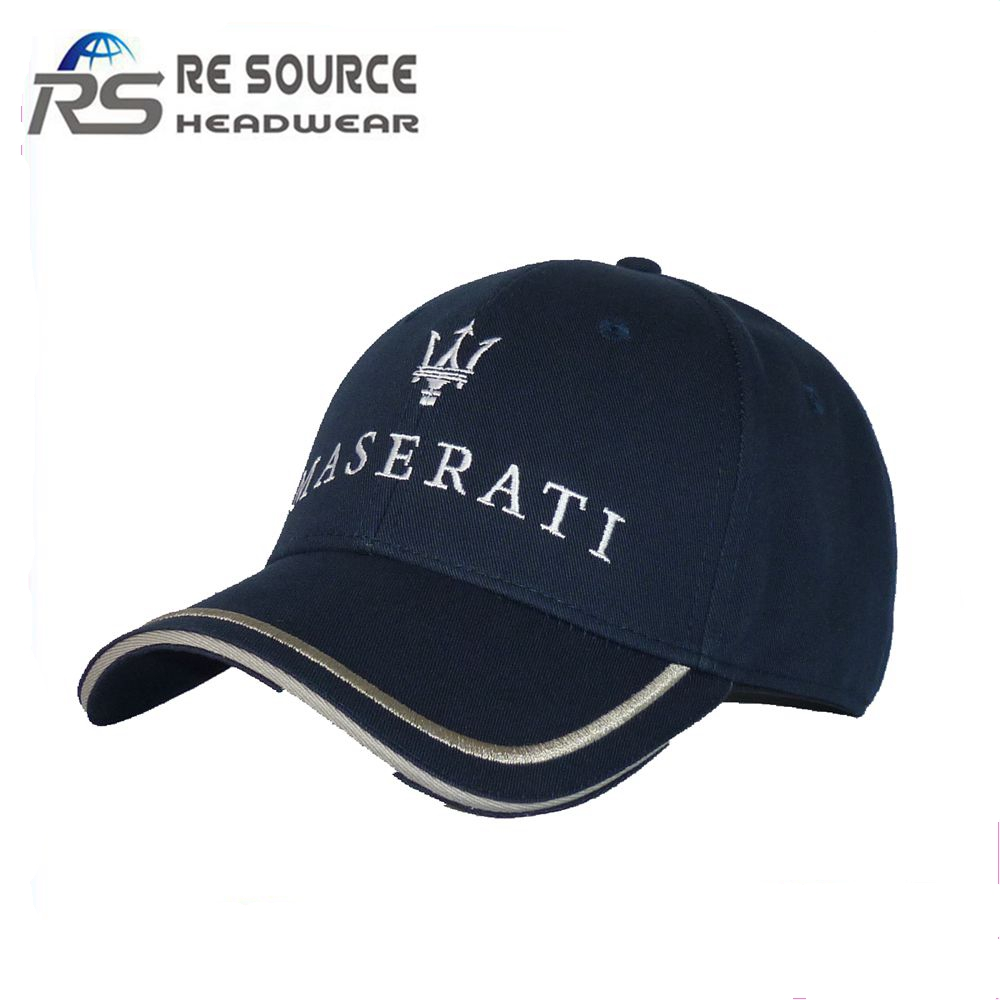 best selling navy baseball cap with white embroidery on the front and silver embroidery on the bill enjoy good sales