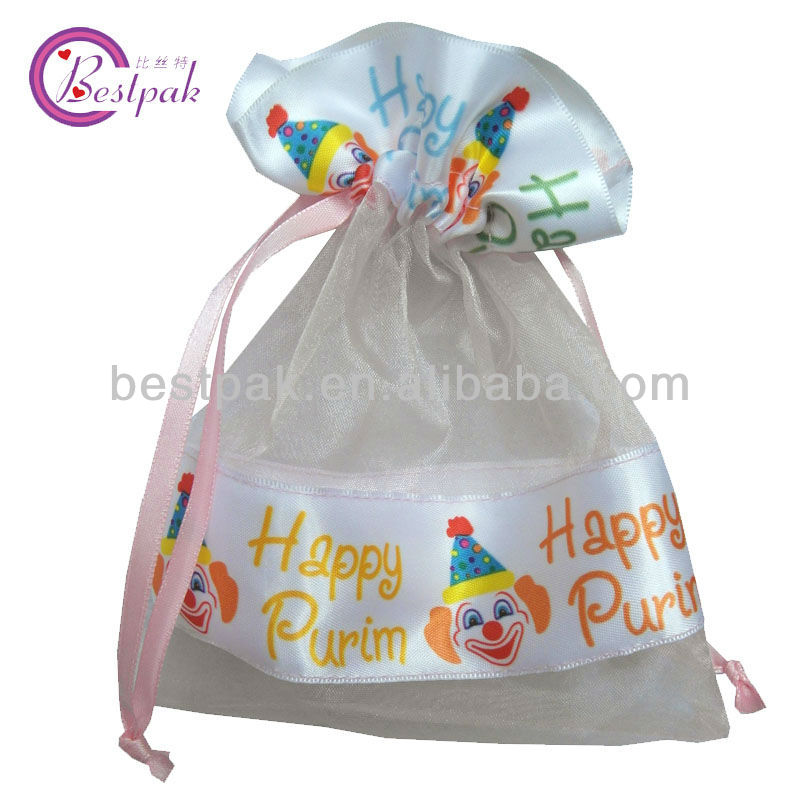 cute christmas printed satin organza bag