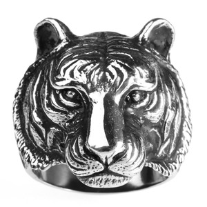 New Design Stainless Steel Animal Rings Mans Tiger Jewelry Ring