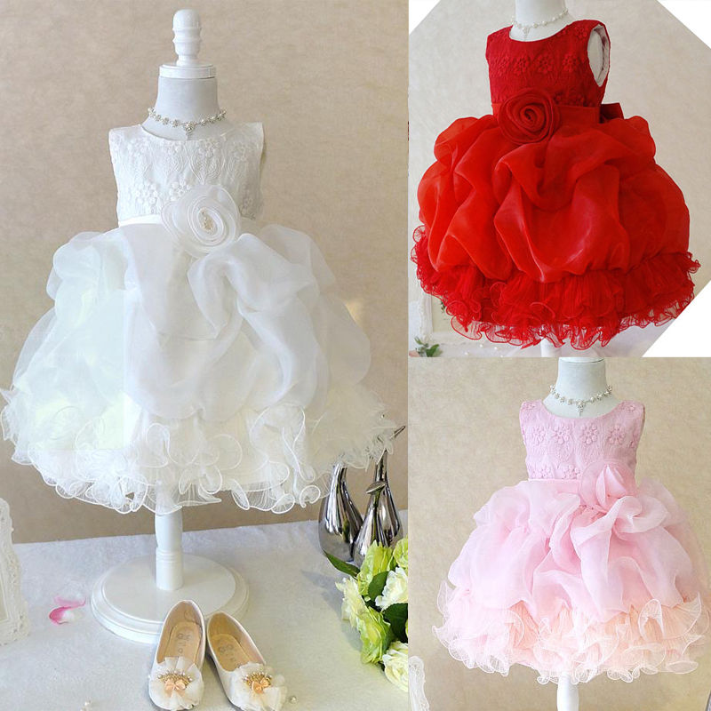 Xmas font b Fancy b font Baby Girls Tulle Flower Bridesmaid Gown Party Wedding font b