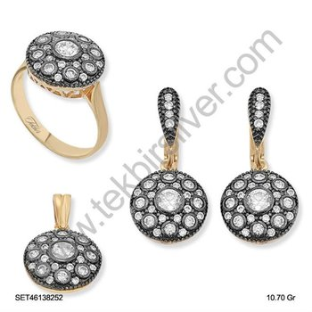 Silver925 Rose Plated Diamond Design Set | SET46138252