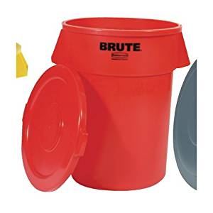 Rubbermaid Commercial Brute Refuse Container, Round, Plastic, 44gal, Red
