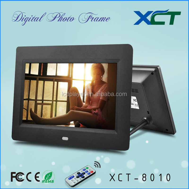 Wholesale bulk wall mounted gif lcd led 8 inch video loop digital photo frame with buttons front ce rohs XCT-8010