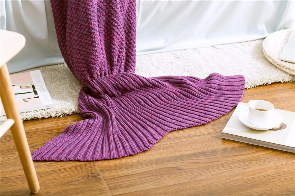 Handgemachte 100 Baumwolle Gestrickte Meerjungfrau Schwanz Decke