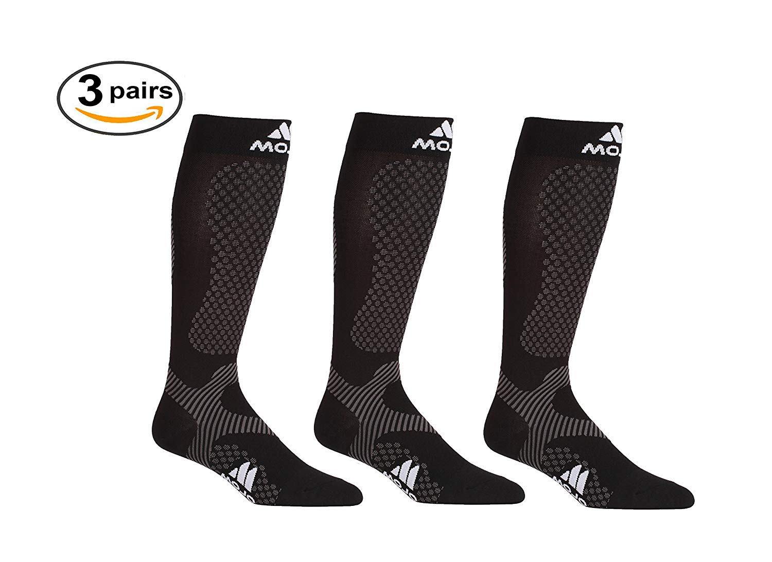 0833c037ff Get Quotations · 3 Pack Compression Socks - Mojo for Performance & Recovery  (Large, Black (3