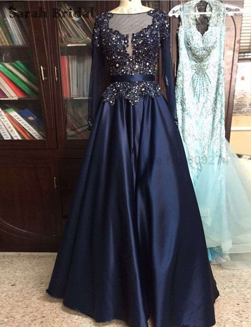 High Quality Crystal Long Prom Dresses Long Sleeves Plus