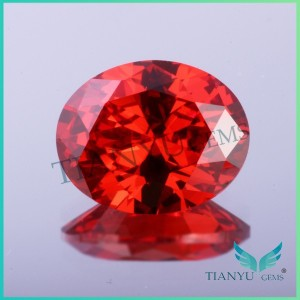 2015 wholesale cz stone price 8x10mm oval shape light garnet color machine cut cubic zirconia rough
