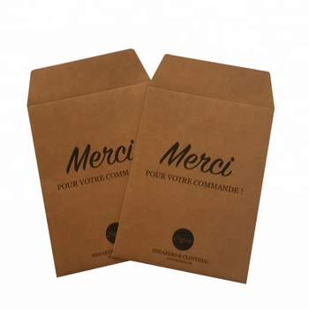 Custom Printing Logo Brand Name Pouch Gift Card Brown Kraft Paper