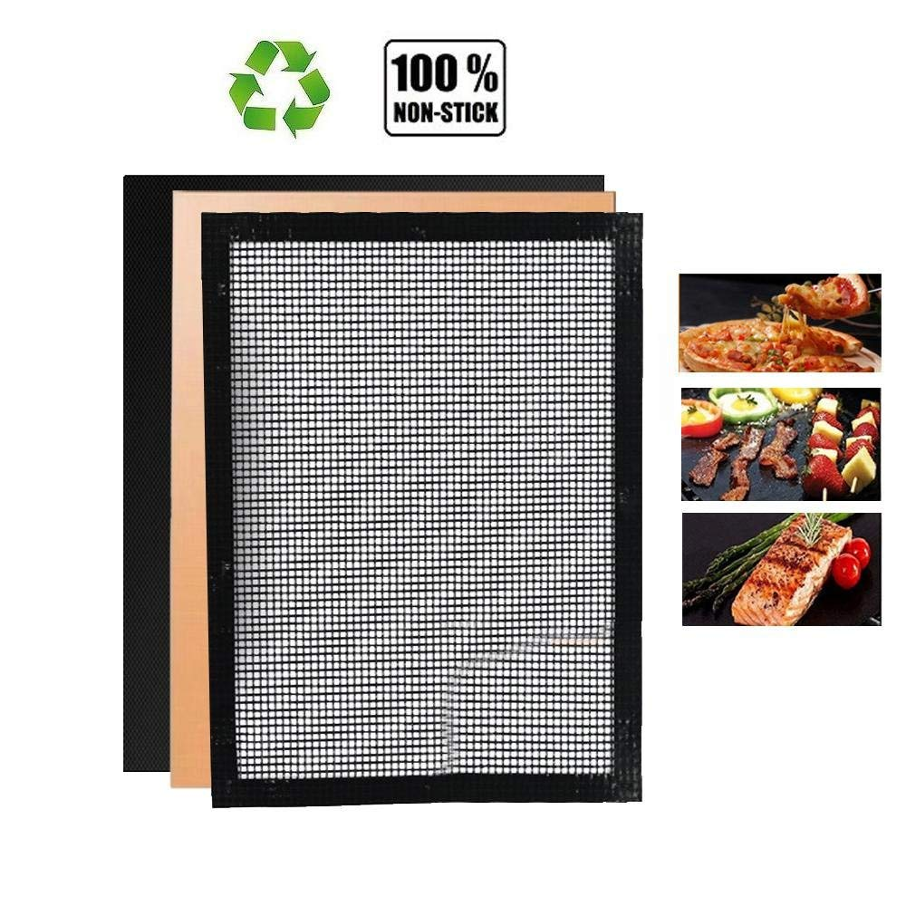 Aolvo BBQ Mat Set of 3, Non Stick BBQ Mesh Grill Mats & 2 BBQ Grill Mats Heavy Duty, Reusable, Non-stick and Heat Resistant Mats for Charcoal, Electric and Gas Grill FDA-Approved, PFOA Free