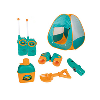 Kids Tent Camping Set Includes Big Tent, Telescope, 2 Walkie Talkies Water Bottle Shovel Multifunctional Whistle Compass