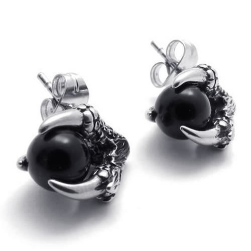 Gentleman Wholesale Latest Designed Cubic Zirconia Stainless Black Gem Steel  Dragon Claw  2Pieces Stud Earrings Set Height:12mm