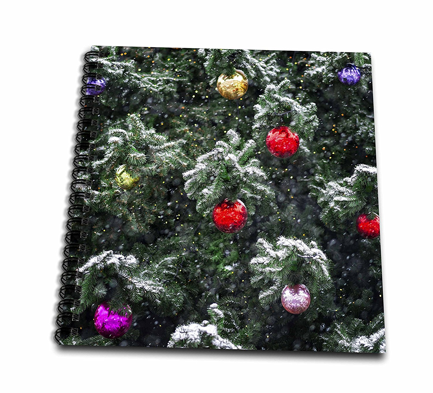 3dRose Alexis Photography - Holidays Christmas - Christmas tree, ornament balls, lights, snow and snowfall - Memory Book 12 x 12 inch (db_275974_2)