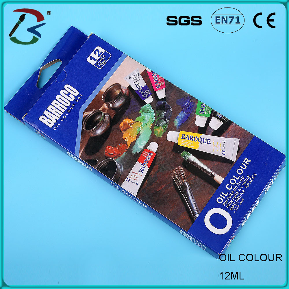 Wholesale Cheap Price Student Grade Oil Color Paint,12Color 12ml/Alum Tube/Set for Children Drawing to Paint Oil Painting