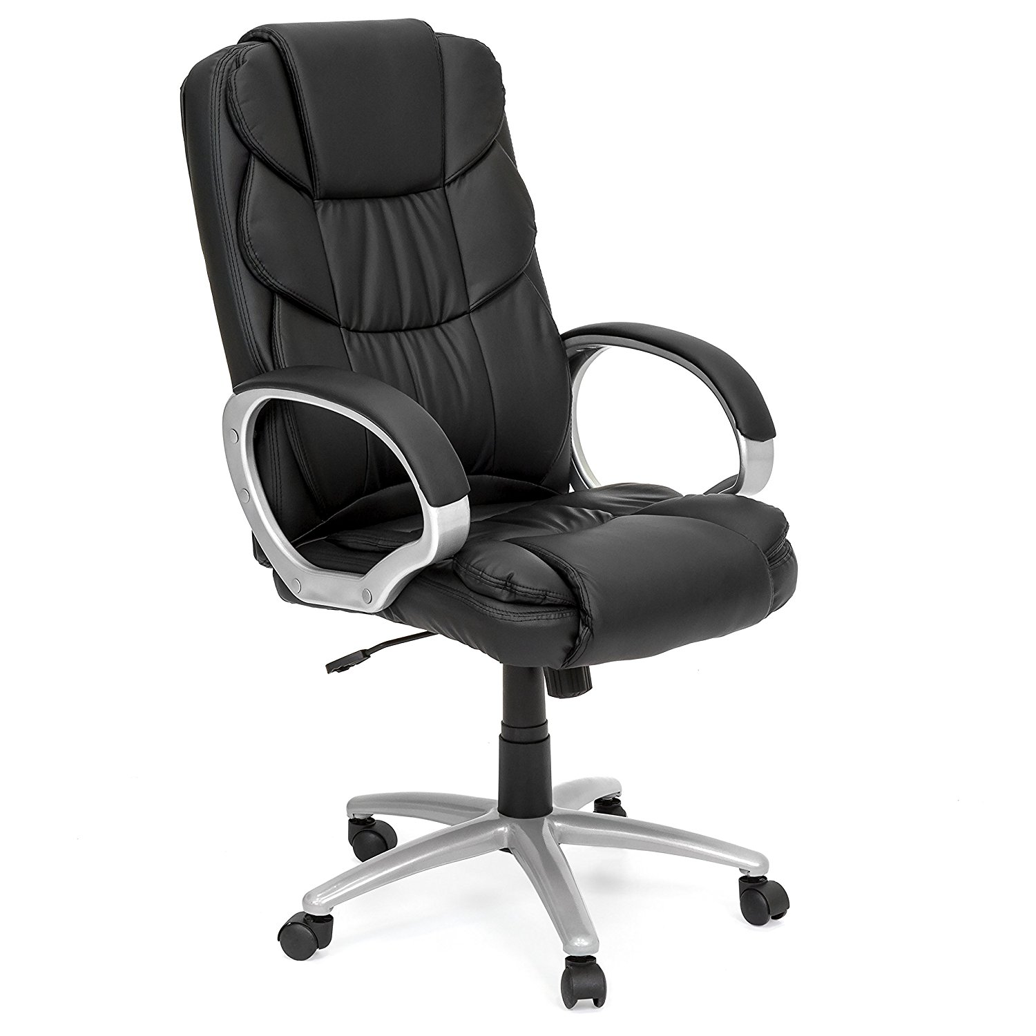 PU Leather Upholstery Ergonomic Office Task Desk Chair, Tall Curved Backrest, Swivel, Height Adjustable Seat, Suitable For Work, Computer Desk, Student, Black Color + Expert Guide