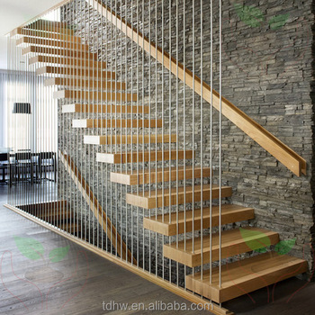 Contemporary Floating Staircase With Wood Tread Invisible Stringer Straight  Stairs