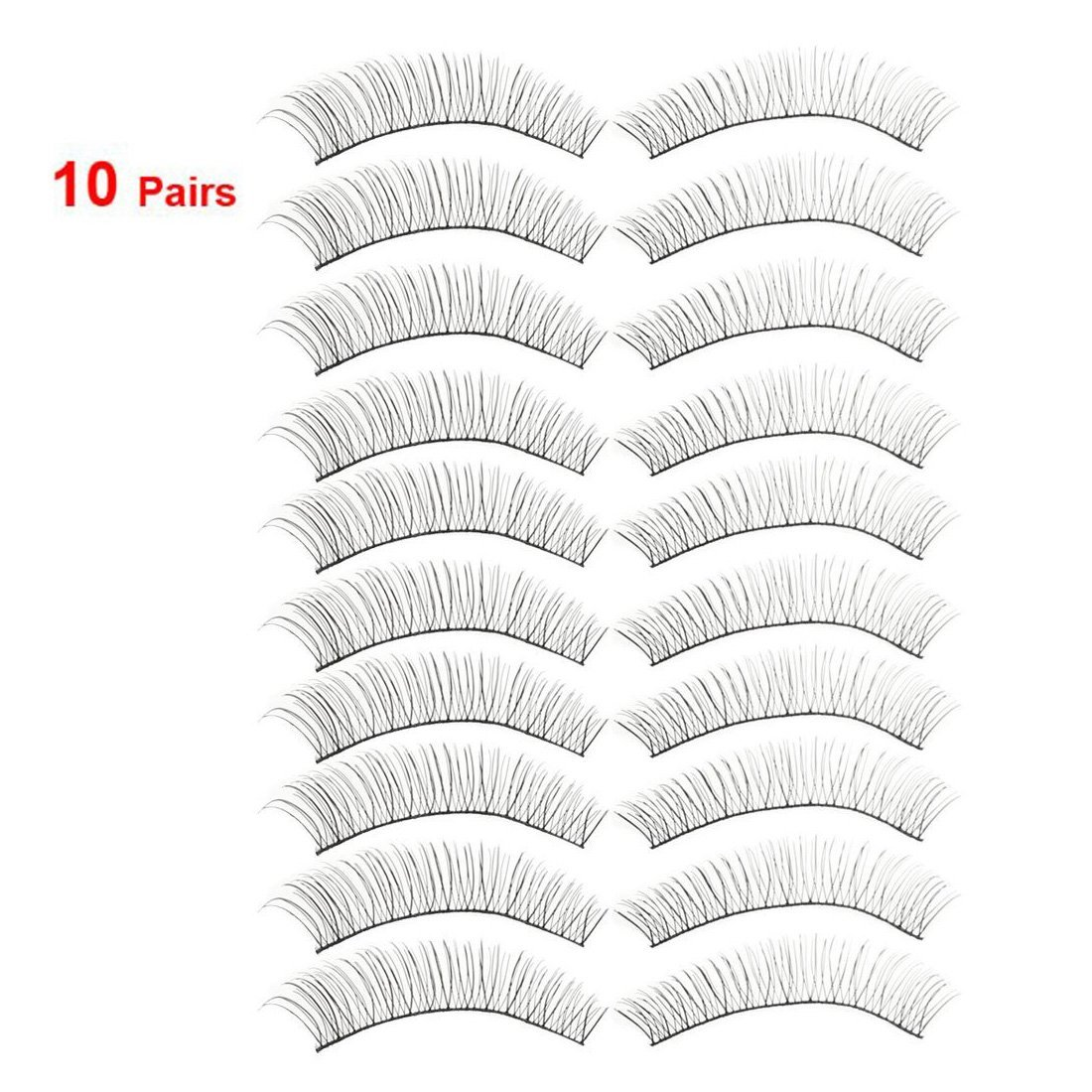 uxcell 10 Pairs Women Daily Party Makeup Long Curly False Eyelashes Black