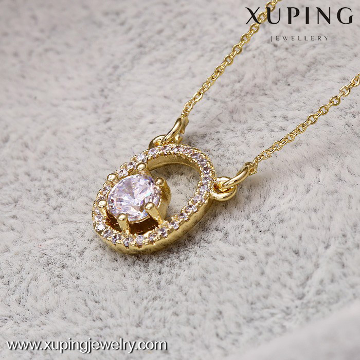 41957-xuping imitation jewelry latest design new fashion crystal necklace for girls
