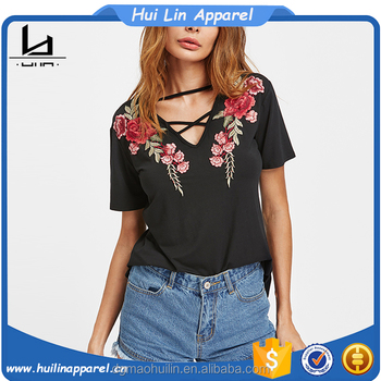 2017 woman clthes custom apparel crisscross v neck rose patch embroidered t shirt