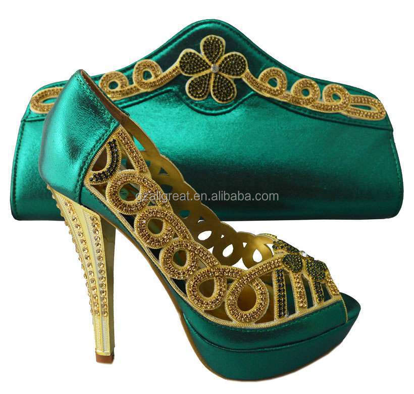 Italian Shoes And Bag Set Matching Green Bags African