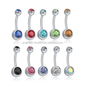 Yiwu factory directly sell belly botton rings multicolor rhinestone 316L stainless steel Belly rings
