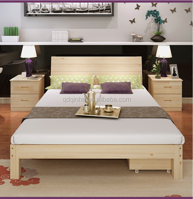 Top Sale High Quality Wooden Bed Solid Wood Plank Pine