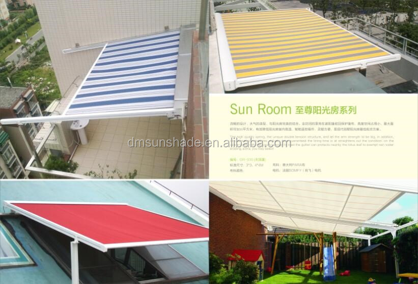 Chinese roof awning or pergola /glass room motorized conservatory awning