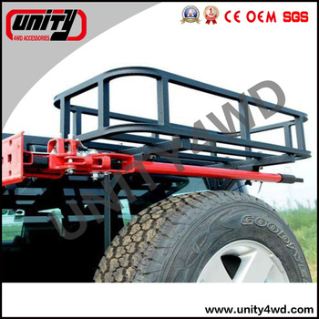 Rear Cargo Basket With Hi-jack Bracket For Rear Bumper With Tire ...