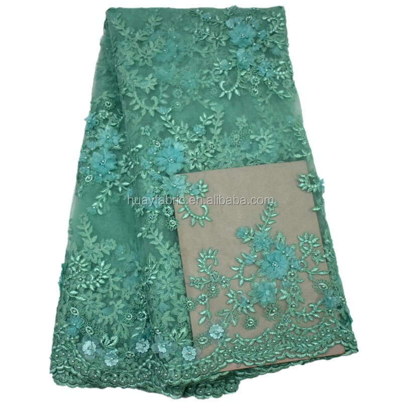 Green 3D flower embroidery beaded lace fabric french laces in dubai tulle lace 2016 HY0382